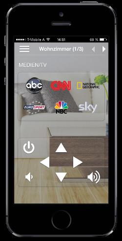 ayControl KNX Visualisierungs App mit Mediensteuerung auf iOS iPhone 5