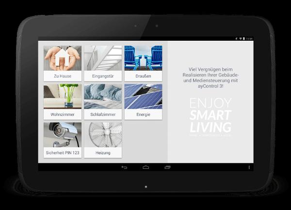 ayControl KNX Gebäudesteuerungs App auf Android Tablet